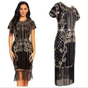 Sequin Cocktail Gatsby Flapper Dress Black Sz XXL